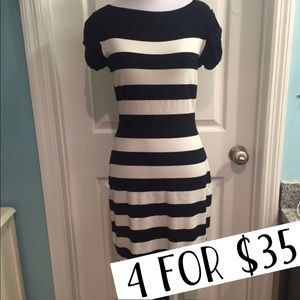 Kenneth Cole black white striped sweater dress